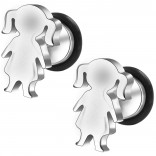 2pc 16g 316L Surgical Stainless SteelGirl Fake Ear Plug Gauges Earrings Cheater Stud Surgical Steel Bar Piercing Jewelry