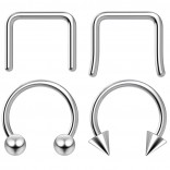 4pc Anodized Surgical Steel  Septum Retainer Ring Horseshoe Retainer Piercing Jewelry Tragus Eyebrow 3mm Ball Spike Select Gauge - Color - Diameter