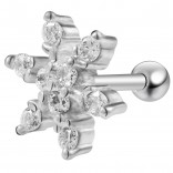 16g 1/4 Tragus Stud Cartilage Earring Barbell Star Stud Forward Helix Crystal Surgical Steel Piercing Jewelry