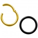 2pc 14g Clicker Nose Rings Hoop Septum Ring Ceptum Clickers Conch Piercing Jewelry Gold & Black 10mm