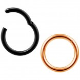 2pc 14g Clicker Nose Rings Hoop Septum Ring Ceptum Clickers Conch Piercing Jewelry Rose & Black 10mm