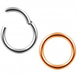 2pc 14g Clicker Nose Rings Hoop Septum Ring Ceptum Clickers Conch Piercing Jewelry Black & Rose 10mm