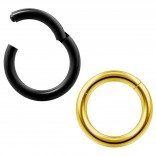 2pc 14g Clicker Nose Rings Hoop Septum Ring Ceptum Clickers Conch Piercing Jewelry Gold & Black 8mm
