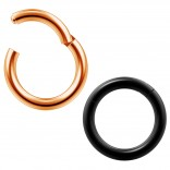 2pc 14g Clicker Nose Rings Hoop Septum Ring Ceptum Clickers Conch Piercing Jewelry Rose & Black 8mm