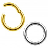 2pc 14g Clicker Nose Rings Hoop Septum Ring Ceptum Clickers Conch Piercing Jewelry Steel & Gold 8mm