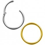 2pc 16g Clicker Nose Rings Hoop Septum Ring Ceptum Clickers Conch Piercing Jewelry Steel & Gold 10mm