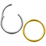 2pc 18g Clicker Nose Rings Hoop Septum Ring Ceptum Clickers Conch Piercing Jewelry Steel & Gold 10mm
