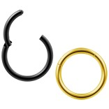 2pc 18g Clicker Nose Rings Hoop Septum Ring Ceptum Clickers Conch Piercing Jewelry Gold & Black 8mm