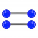 2pc 14g Barbell Cartilage Earring Stud Vertical Anti Tragus Triple Forward Helix Bar Surgical Steel Lobe 4mm Ball Blue - 8mm