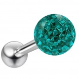 14g Blue Zircon Sparkling Tongue Ring Glittery Sparkly Crystal For Women Gem Piercing Rings Ball CZ