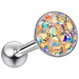 14g Tongue Ring Flat Head Glittery Ball Sparkling Crystal Piercing Jewelry Aurora Borealis AB Bottom
