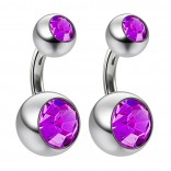 2pc 14g Crystal Double Gem Birthstone Belly Button Ring Surgical Steel Shallow Navel 6mm