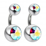 2pc 14g Crystal AB Aurora Gem Double Belly Button Ring Navel Short 6mm Shallow Piercings