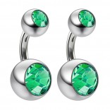2pc 14g Crystal Double Gem CZ Emerald Belly Button Ring Surgical Steel Shallow Navel 6mm