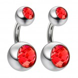 2pc 14g Crystal Double Gem Light Siam Belly Button Ring Surgical Steel Shallow Navel 6mm
