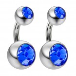 2pc 14g Crystal Double Gem CZ Sapphire Belly Button Ring Surgical Steel Shallow Navel 6mm