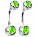 2pc 14g Crystal Belly Button Ring CZ Peridot Green Jeweled 3/8 Sexy For Women Navel Rings