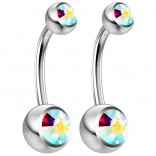 2pc 14g Crystal Belly Button Ring AB Aurora Borealis Jeweled 10mm Sexy For Women Navel Bar