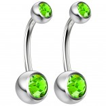 2pc 14g Crystal Belly Button Ring CZ Peridot Green Jeweled 10mm Sexy For Women Navel Rings