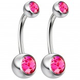 2pc 14g Crystal Belly Button Ring CZ Rose Pink Gem Jeweled 10mm Sexy For Women Navel Rings