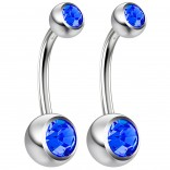 2pc 14g Crystal Belly Button Ring Sapphire CZ Gem Jeweled 10mm Sexy For Women Navel Rings