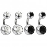 4pc 14g Crystal Double CZ Jet Gem Belly Button Ring 316L Surgical Steel Shallow Navel 1/4