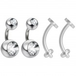 2pc Surgical Steel 14g Belly Navel Ring Shallow 1/4 6mm Piercing Jewelry 8mm and 5mm Crystal Ball & 2pc Bioflex 14g Retainer