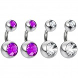 4pc Surgical Steel 14 Gauge Belly Button Rings 6mm 1/4 Shallow Navel Bikini Piercing Jewelry - 14g Amethyst