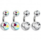 4pc Surgical Steel 14 Gauge Belly Button Rings 6mm 1/4 Shallow Navel Bikini Piercing Jewelry - 14g Aurora Borealis
