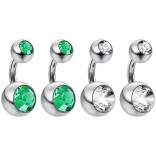 4pc Surgical Steel 14 Gauge Belly Button Rings 6mm 1/4 Shallow Navel Bikini Piercing Jewelry - 14g Emerald
