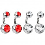 4pc Surgical Steel 14 Gauge Belly Button Rings 6mm 1/4 Shallow Navel Bikini Piercing Jewelry - 14g Light Siam