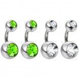 4pc Surgical Steel 14 Gauge Belly Button Rings 6mm 1/4 Shallow Navel Bikini Piercing Jewelry - 14g Peridot