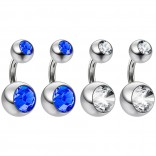4pc Surgical Steel 14 Gauge Belly Button Rings 6mm 1/4 Shallow Navel Bikini Piercing Jewelry - 14g Sapphire
