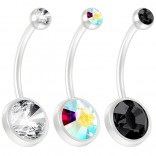 3pc 14g Peridot CZ Crystal Flexible BioFlex Belly Button Ring Piercing Navel Bar Bendable Bioplast 19mm Aurora Borealis CZ Jet