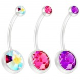 3pc 14g Peridot CZ Crystal Flexible BioFlex Belly Button Ring Piercing Navel Bar Bendable Bioplast 19mm Aurora Borealis Rose Amethyst