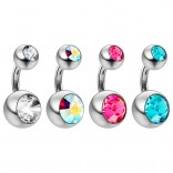 4pc 14g Crystal Belly Button Rings AB Rose Blue Jewel Navel Piercing 6mm + Clear Retainer