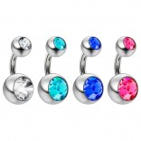 4pc 14g Crystal Double CZ Gem Belly Button Ring 316L Surgical Steel Shallow Navel 6mm 1/4