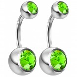 2pc 14g Crystal Belly Button Ring CZ Peridot Green Jeweled 8mm Sexy For Women Navel Rings