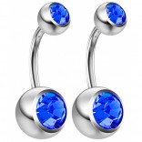 2pc 14g Crystal Belly Button Ring Sapphire CZ Gem Jeweled 8mm Sexy For Women Navel Rings