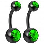 2pc 14g Peridot Belly Button Rings 10mm 3/8 Flexible Acrylic Black Plastic Crystal Gem Navel Ring
