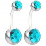 2pc 14g Belly Button Ring Aqua Blue Crystal Gem Clear Flexible Bioflex Bar Navel Piercing 10mm 3/8
