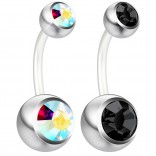 2pc 14g Belly Button Ring AB Aurora Borealis & Jet Crystal Clear Flexible Bioflex Bar Navel Piercing