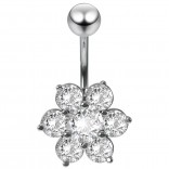 Beautiful Dangly Belly Button Ring Flower 14g Hypoallergenic 316LVM Surgical Stainless Steel Navel Piercing Bar Body Piercing Jewelry