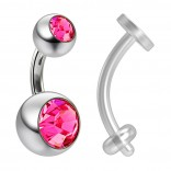 14g Crystal Rose Pink Gem Double Belly Button Ring Navel Rings 6mm 1/4 & Piercing Retainer