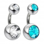 2pc 14g Crystal Double Gem Aquamarine Belly Button Ring Surgical Steel Shallow Navel 6mm