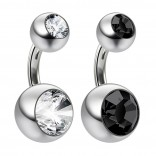 2pc 14g Crystal Double Gem Jet Black Belly Button Ring Surgical Steel Shallow Navel 1/4