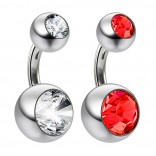 2pc 14g Crystal Double Gem Light Siam Belly Button Ring Surgical Steel Shallow Navel 1/4