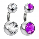 14g Crystal Double Gem Birthstone Belly Button Ring 316L Surgical Steel Shallow Navel 6mm