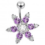 14g crystal Belly Button Ring CZ Cubic Zirconia Tanz Gem Crystal Jewel 6mm Short - Clear Retainer