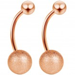 2pc 14g Rose Gold Frost Belly Button Ring Frosted Ball Navel Banana Bar Surgical Stainless Steel